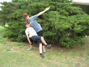 The kids' graceful ballroom dancing at a rest area en route to Ohio