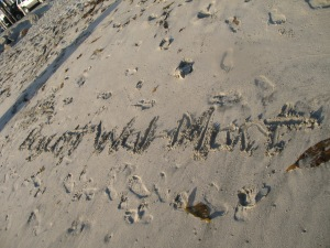 """Boycott Wal-Mart"" - Laurel has been writing liberal messages in the sand every day, including ""Free Tibet"" and ""350.org"" (an environmental organization).  The writings are quickly swallowed by the sea."