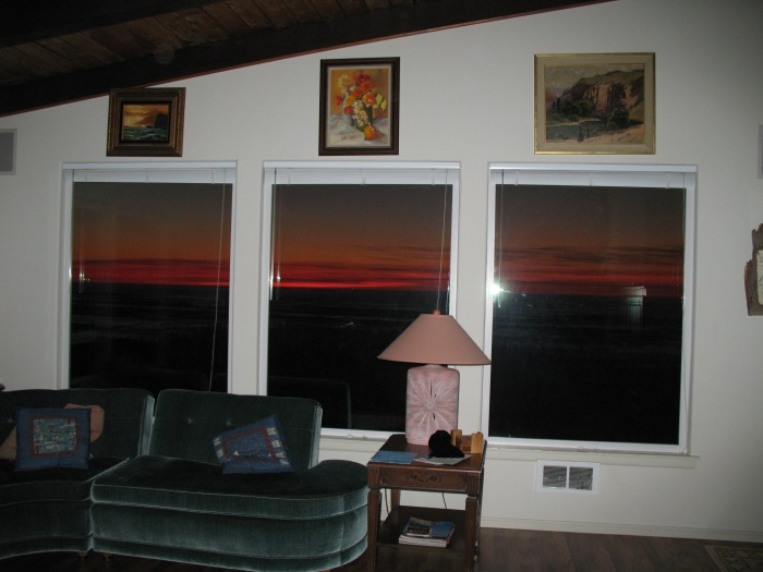 A little after sunset - view from our living room, looking out at the ocean