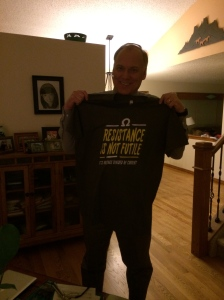 """I gave this shirt to my brother-in-law Ray, an electrical engineer.  It says, """"Resistance is not futile.  It's voltage divided by current.""""  I'm pretty sure this is going to be a grass-cutting shirt for him. :-)"""