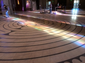 People walk this labyrinth in the back of the cathedral sanctuary.  A sign in front of the church advertised their yoga classes on the labyrinth.