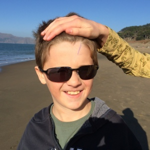 Charlie has completed a children's crossword puzzle book and a maze book since we've been in San Francisco, but he has to be constantly monitored when using a pen.  A few days ago he decided scratching his forehead with the pen was a good idea.