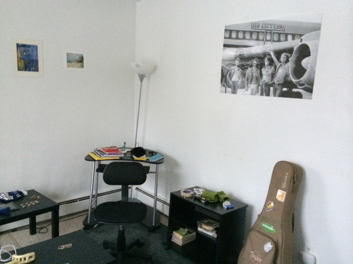 Two wee prints from the DAM gift shop and the Zeppelin poster from San Francisco to cover the asylum-white walls