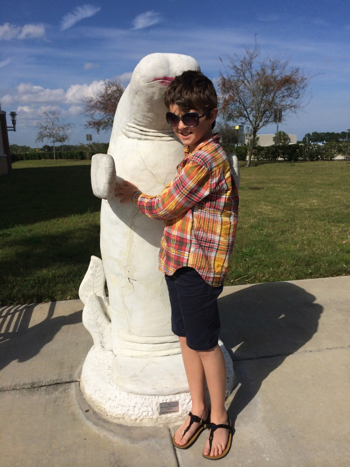 We haven't seen any (real) manatee, so I guess this statue will have to suffice.