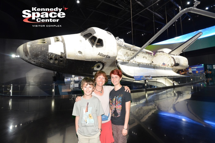 In front of the green screen, but we really did see the Atlantis!  :-)