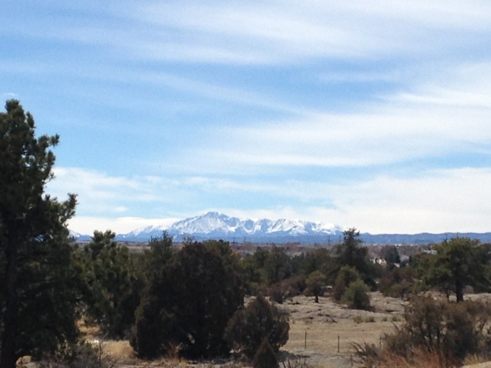 Pikes Peak as seen from Gateway Mesa Open Space in Castle Rock