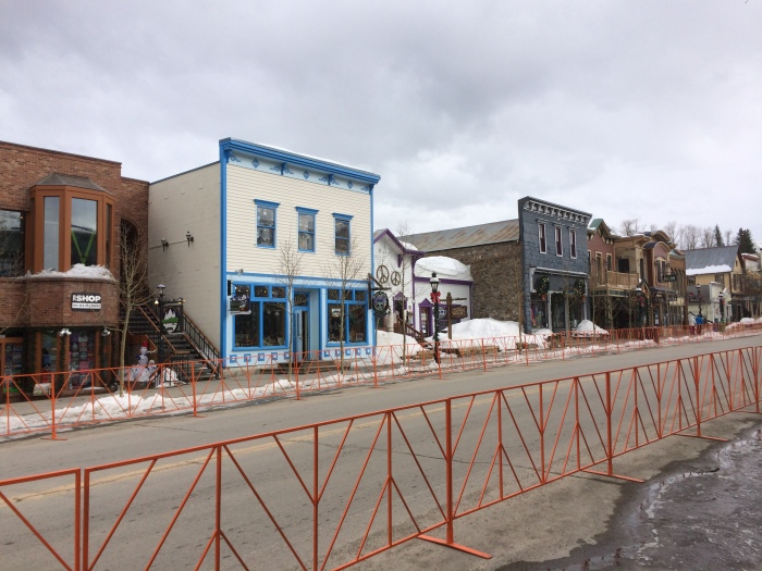 Downtown Breckenridge (Fencing is in preparation for the parade.)