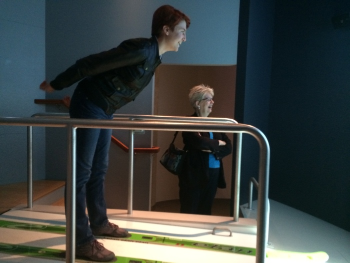 Laurel tried the ski jump in the section of the museum dedicated to mountain life.