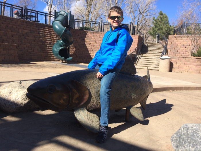 Charlie's daredevil, fish-statue riding by Clear Creek in Golden