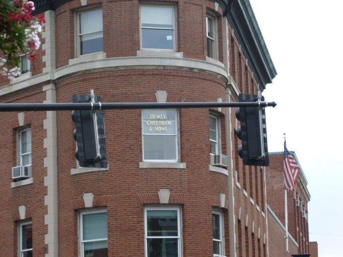 """Cambridge, just before our Harvard tour - one of the office windows says """"Dewey, Cheatham, and Howe."""""""