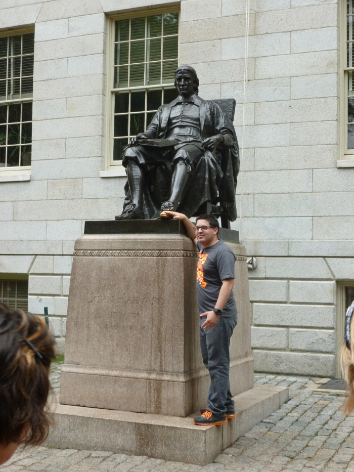 A statue of the Harvard founder (kind of - it was a long story): People rub Harvard's foot for good luck.