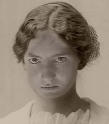 """Laurel's """"Yearbook Photo"""" from 1920 Keota, Colorado - a tiny Plains town that no longer exists.  Museum visitors can take a self-portrait and use that portrait with 1920's hairstyles and clothing.  :-)"""