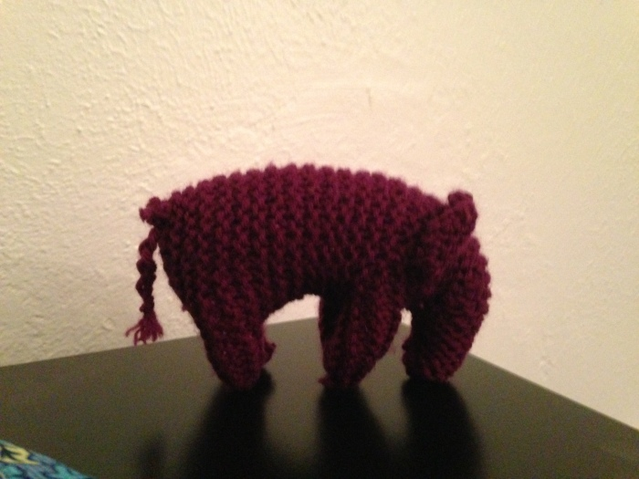 Laurel knitted this elephant.  She found the directions online and bought the yarn at a Denver store called The Lamb Shoppe.