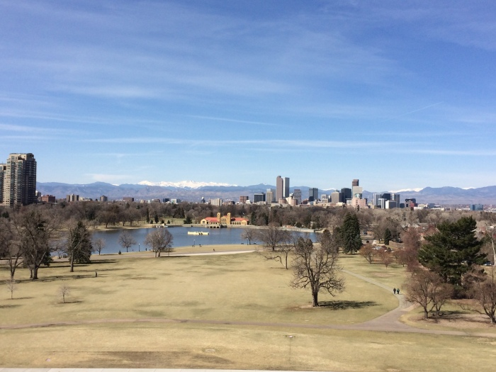 View of the mountains and Denver skyline from the fourth-floor lookout at the Denver Museum of Nature and Science