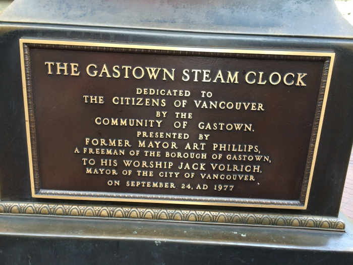 A homeless man wearing an orange vest told us a little about the steam clock including explaining that it doesn't work because a drunk driver hit it, and it fell apart causing $10,000 damage.