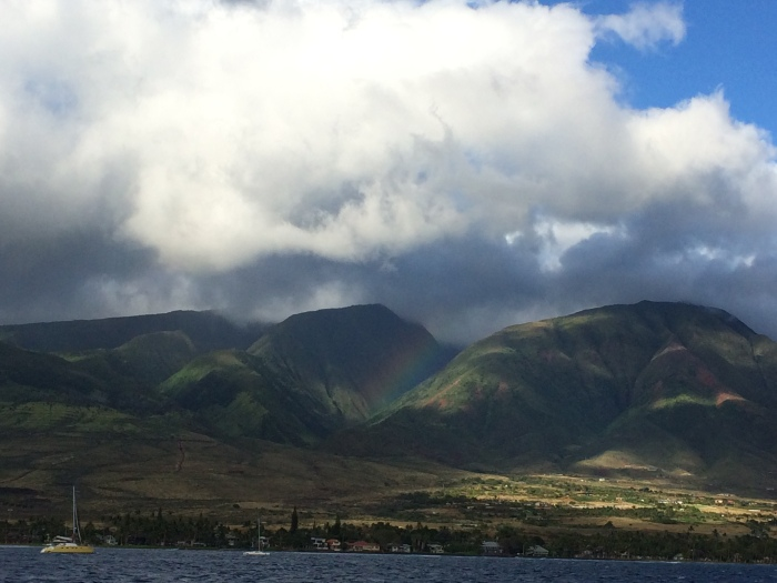 "Then we went on a 2-hour ""cocktail cruise"" that started from Lahaina Harbor.  The breeze on the boat was such a relief.  Do you see the rainbow here?"