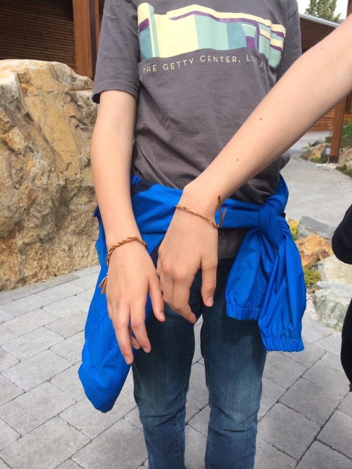 David helped us make cedar bracelets - shorter versions of the rope-making process.