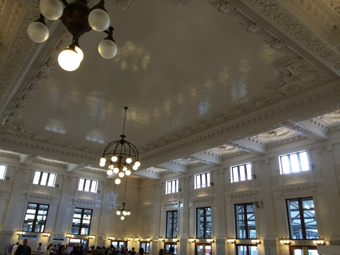 The Seattle train station is beautiful.