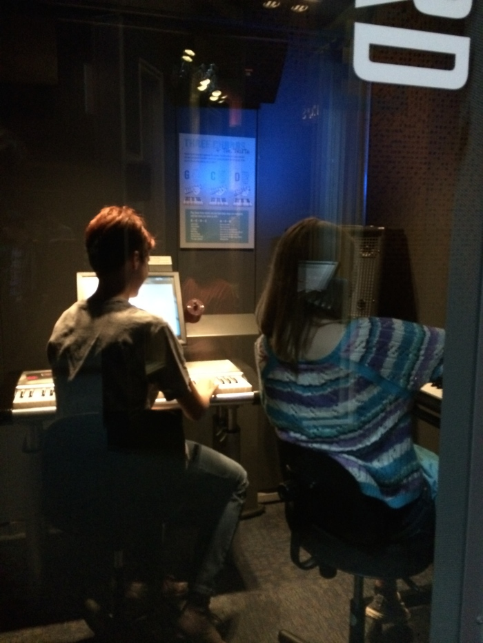 Laurel and Gillian played keyboards in one of several instrument rooms in the Sound Lab.