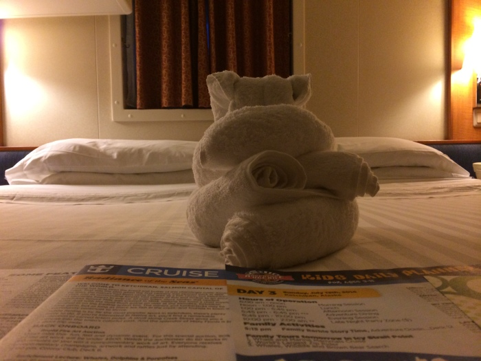 Daewa (not sure of the spelling), our stateroom attendant, found a variety of clever ways to fold our towels.