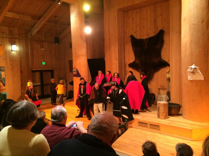 We attended a Tlinget (KLING ket) dance at Icy Strait Point in which we learned how the raven created the world.  We weren't allowed to take pictures during that dance but could afterward when they invited members of the audience to participate in a dance.