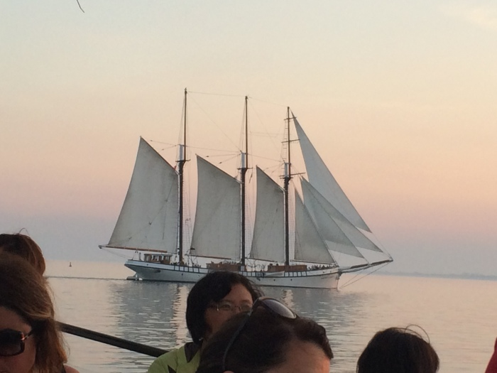 View of another schooner from our schooner on Lake Ontario