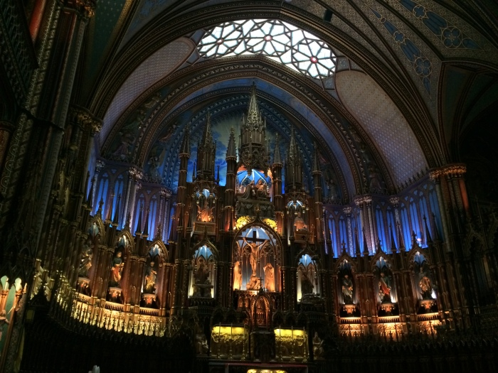"""Inside of Notre Dame, where Celine Dion got married and whose bells we hear chiming the hour and playing """"Immaculate Mary"""" at times."""