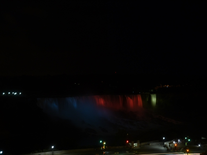 The falls are lit in different colors at night.  We took this one of the American Falls from our hotel room.