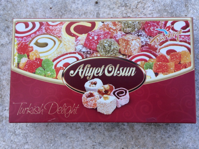 "We bought some Turkish delight (""Lokum"" in Turkish) the other day.  It's a candy that's kind of a marshmallow/fruit combo."
