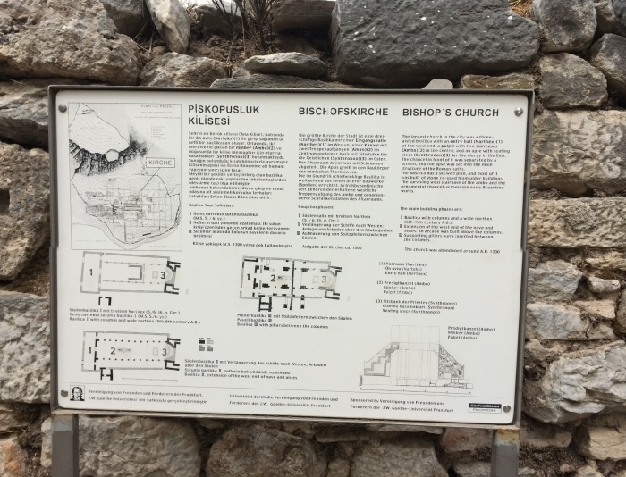 "This sign describes the Byzantine changes to Dionysus' Temple.  As I was reading it again, I saw the word ""narthex"" which reminded me of what Tuğrul told us last week.  Narthex is a plant that we saw growing near the ruins at Ephesus.  He said it was used for lighting in ancient times.  Even when the fire is seemingly extinguished, the fire will burn again days later if you blow on the plant a couple times.  Because these plants were eventually used to light churches, a church's entryway is called the narthex."