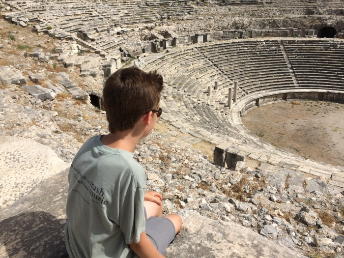 The amphitheater at Miletus was added onto over the course of centuries.  The Greeks built the original with the lower seating.  The Romans added on.  The Turks added on to the top.