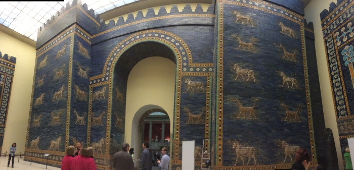 The Ishtar gate, named for the goddess Ishtar, from Ancient Babylon - about 575 BC.