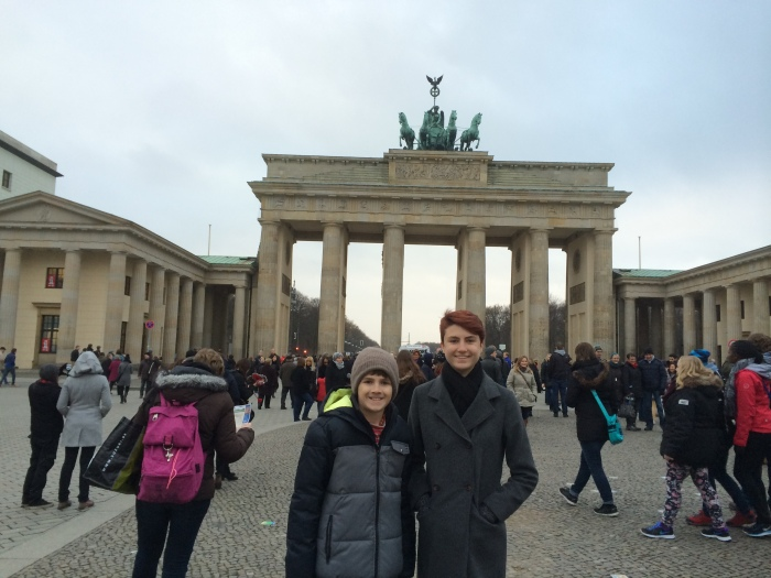 The Brandenburg Gate - There's a big, beautiful Christmas tree there, but I somehow didn't get it in the photo with the kids.