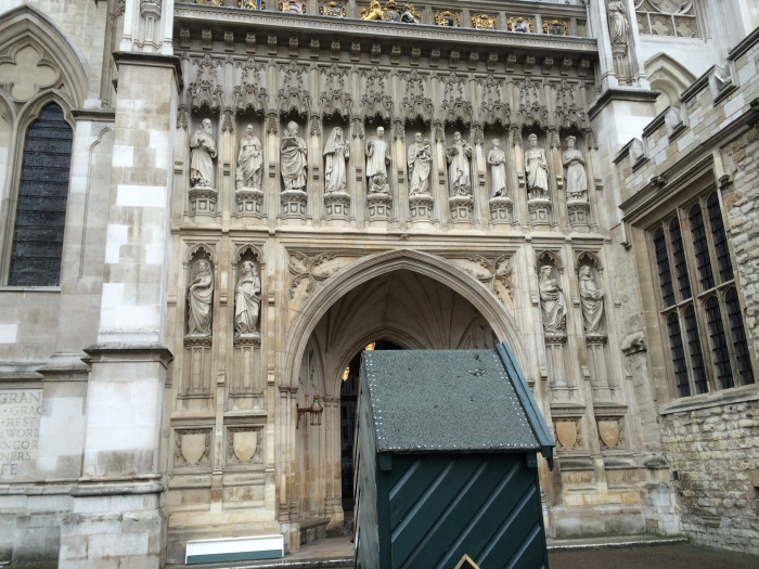Westminster Abbey side door with 20th-century martyrs including Martin Luther King, Jr.