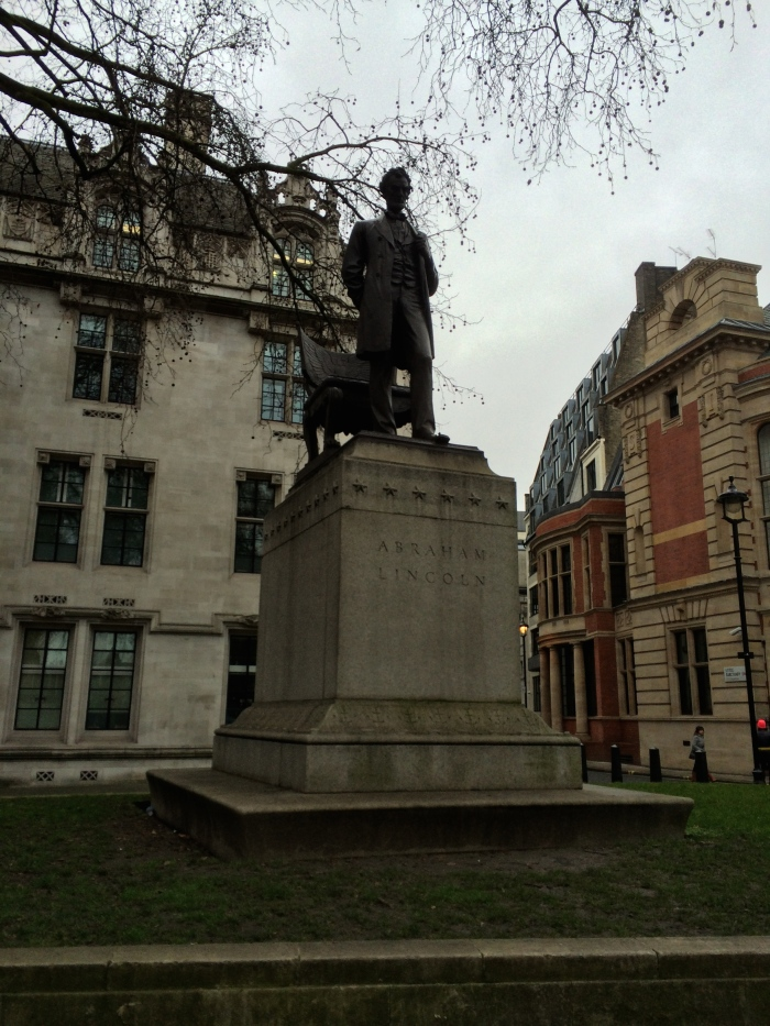 Statue of Lincoln across the street from Westminster Abbey