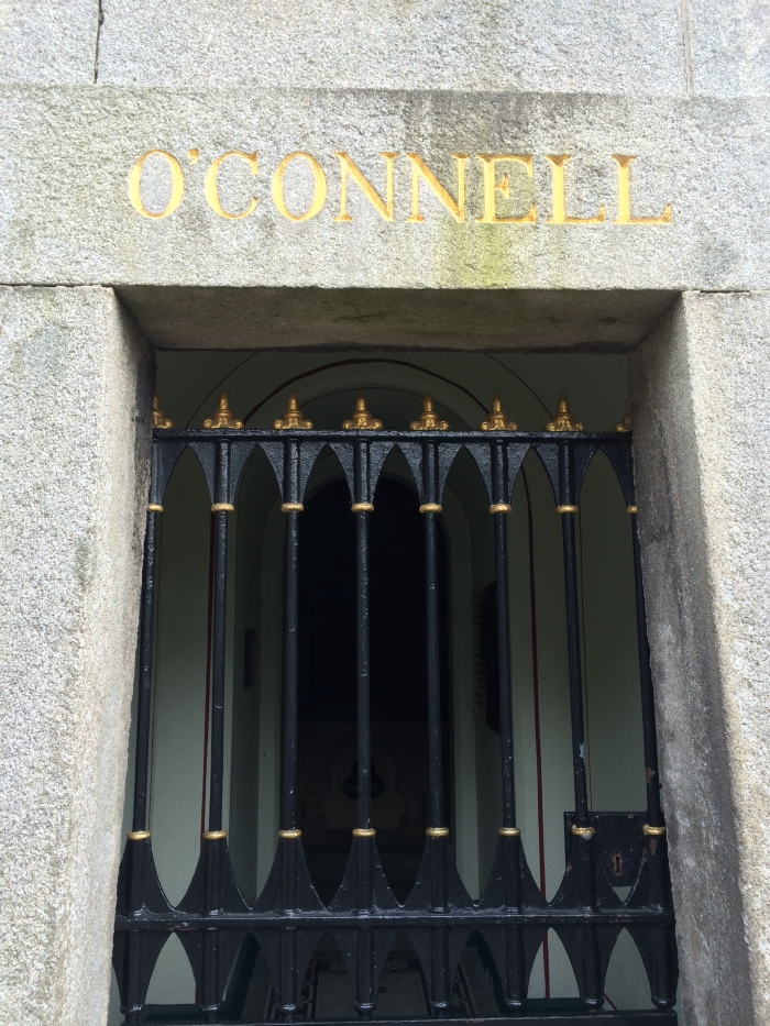 Daniel O'Connell has an enormous and beautiful tomb and tower and landscaping.  We learned a lot about him, but now in my mind some colorful details are crowding out the substantive details of Daragh's monologue.  Essentially though he started Glasnevin Cemetery  because the English Penal Laws prohibited the Catholics from having any kind of public ceremony when burying their dead.  O'Connell, an attorney (who received his early education in France because of the laws against Catholics being educated in Ireland) wanted both Protestants and Catholics to be able to have dignified burials.  Frederick Douglass, the American abolitionist, sailed to Ireland in 1845 and met with O'Connell.  From the website Irishamerica.com: Today, O'Connell is largely remembered for winning Catholic Emancipation (the right of Catholics to sit in parliament) and for agitating to achieve independence for Ireland. But for Douglass, and thousands of other abolitionists throughout the world, O'Connell was known for his outspoken statements condemning slavery. By 1845, the Irishman was the most influential and outspoken critic of slavery in the world. It was natural that Douglass should want to hear O'Connell speak.