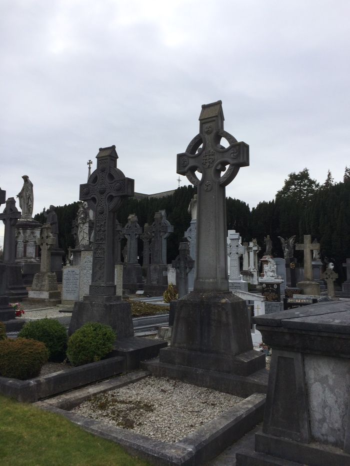 The Celtic cross combines the Christian cross with the sun which the ancient Irish worshipped.  On top of these two is a roof, symbolizing a church that accommodates them both.