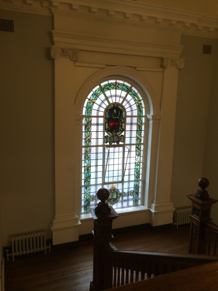 A pretty, stained-glass window inside a library funded, in part, by a grant from Andrew Carnegie's foundation 100 years ago.  I didn't realize there were Carnegie libraries in other countries but read that they're all over the world.