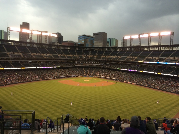 The kids and I attended a Rockies game in early April which we left in the fourth inning; it was cold, raining, scantly attended, and the Rockies were already losing by a large margin.