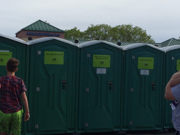 The Bolder Boulder port-a-potties featured clever messages from their urology clinic sponsor.